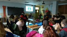 Charla divulgativa y de promoción del programa Erasmus+ de antiguas alumnas de APSD (Silvia, Jone y Ángela) que han participado este último año en Italia para animar al alumnado de 1º y 2º de APSD de este curso a que participen.